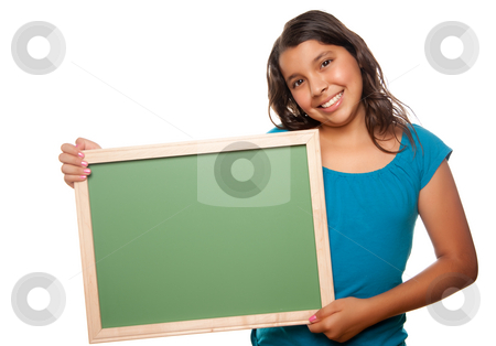 Pretty Hispanic Girl Holding Blank Chalkboard stock photo, Pretty Hispanic Girl Holding Blank Chalkboard Isolated on a White Background. by Andy Dean
