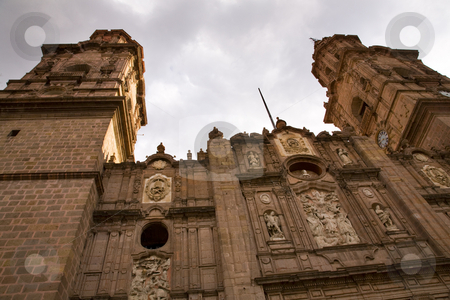 Main Cathedral Steeples Looking Up Morelia Mexico stock photo, Looking Up at Towers Main Cathedral Morelia Mexico by William Perry