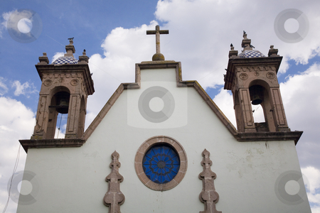 White Adobe Church Steeples Morelia Mexico stock photo, White Adobe Church Steeples Blue Skies Morelia Mexico by William Perry