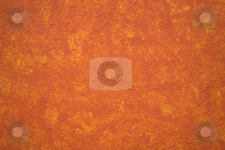 Bright Vibrant Orange Yellow Adobe Wall Mexico stock photo, Bright Vibrant Orange yellow adobe wall Patzcuaro Mexico House Hacienda by William Perry