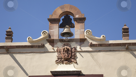 Bell Mexican Symbol  Government Building Queretaro Mexico stock photo, Mexican Symbol of Independence and Bell on Government Building Queretaro Mexico by William Perry