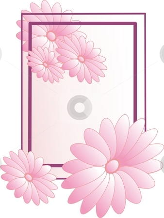 Frame with flowers stock photo, Frame with flowers in pink by Minka Ruskova-Stefanova