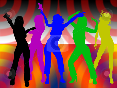 Dancing girls stock photo, Dancing girls on colored background by Minka Ruskova-Stefanova