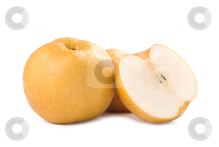 Isolated Japanese pear stock photo, Japanese pear, popular fruit in asia by Lawren