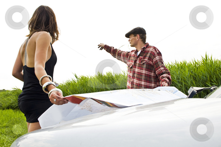 Giving directions stock photo, Local farmer giving directions to a lost beautiful young woman by Corepics VOF