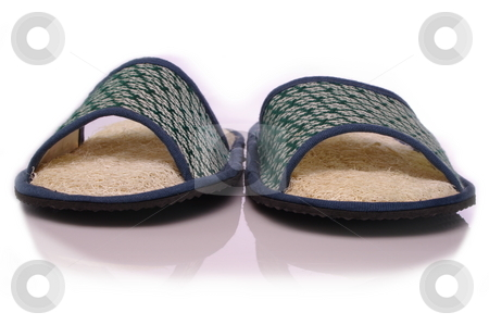 Loofah shoes stock photo, Slide style spa house shoes with exfoliating luffa insoles. White background by Martin Darley