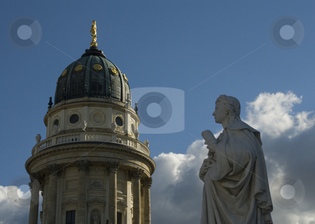 German Cathedral And Friedrich Schiller stock photo, The view of the German Cathedral at Gendarmenmarkt square at Berlin Germany. Was shot in 05.09.2007    The Gendarmenmarkt is a square in Berlin, and the site of the Konzerthaus and the French and German Cathedrals. The centre of the Gendarmenmarkt is crowned by a statue of Germany's poet Friedrich Schiller. by Sergey Kuznetsov