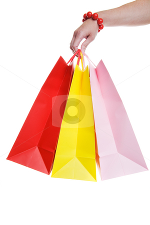 Colorful shopping bags stock photo, A female holding colorful shopping bags by Steve Mcsweeny