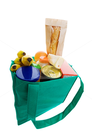 Grocery bag stock photo, Eco friendly grocery bag full of food by Steve Mcsweeny