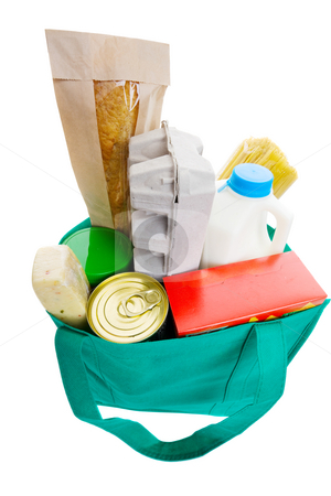 Grocery shopping stock photo, Green eco friendly grocery bag full of food by Steve Mcsweeny