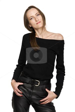 Fashion Beautiful Girl stock photo, Fashion girl whit leathers, isolated on white by Desislava Draganova