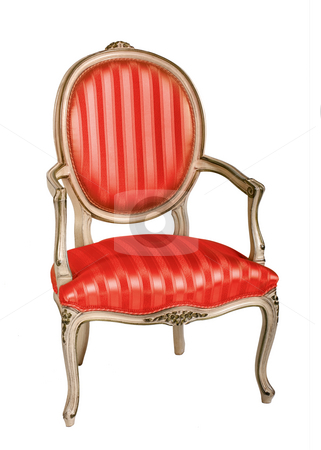 Red Armchair stock photo, Red armchair in retro style by Desislava Draganova