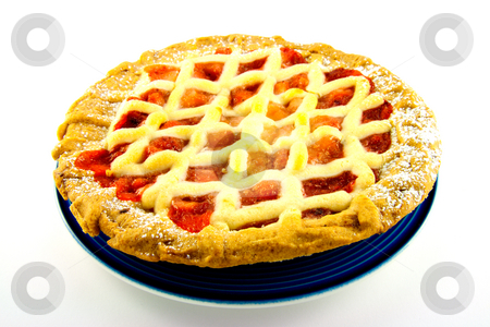 Apple and Strawberry Pie stock photo, Whole apple and strawberry pie on a blue plate on a white background by Keith Wilson