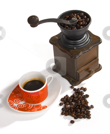 Coffee Grinder stock photo, Wooden coffee grinder whit coffee cup by Desislava Draganova