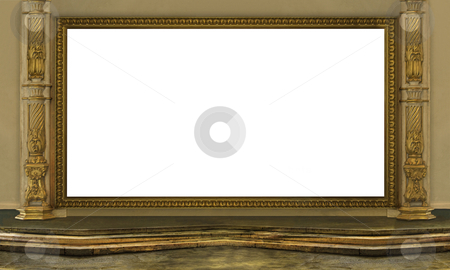 Golden Frame stock photo, Golden frame whit clear centre for your photo by Desislava Draganova
