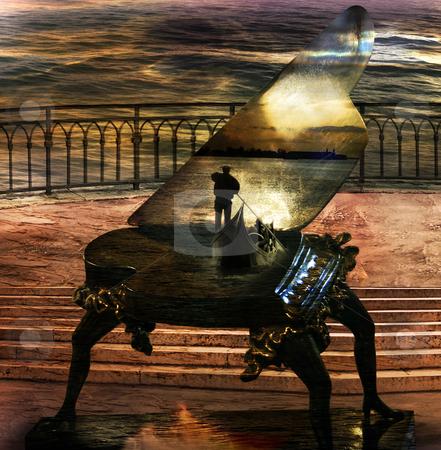 Gondolier`s Sonata stock photo, Italian imagination collage surrealism collection of surreal by Desislava Draganova