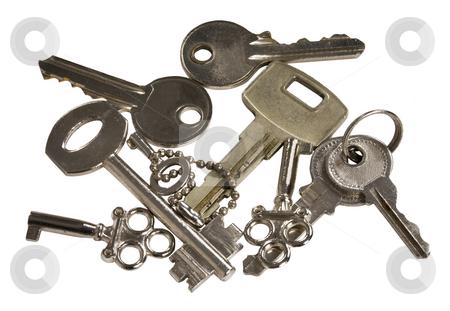 Keys stock photo, Small three decorative keys and six large keys by Desislava Draganova