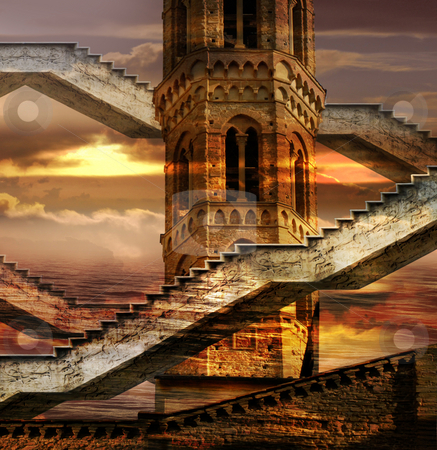Ethereal Towers stock photo, Italian imagination collage surrealism collection of surreal by Desislava Draganova