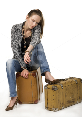 Travel stock photo, Waiting travel girl whit two portmanteau by Desislava Draganova