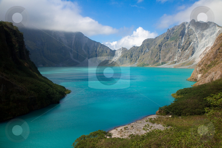 Crater of the Pinatubo volcano stock photo, Crater of the Pinatubo volcano. In the Philipines, Luzon province. The volcano's ultra-Plinian eruption in June 1991 produced the second largest terrestrial eruption of the 20th century. by Wouter Roesems
