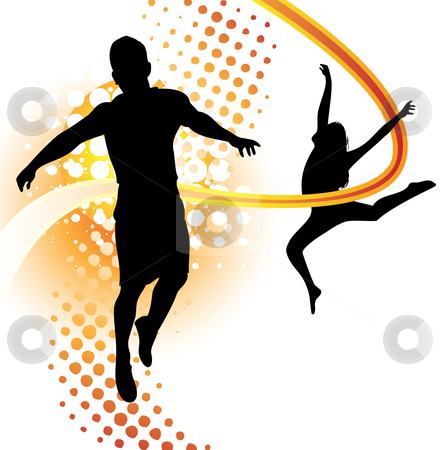 Boy and girl dancing stock vector clipart, Boy and girl silhouettes dancing and jumping by Augusto Cabral Graphiste Rennes