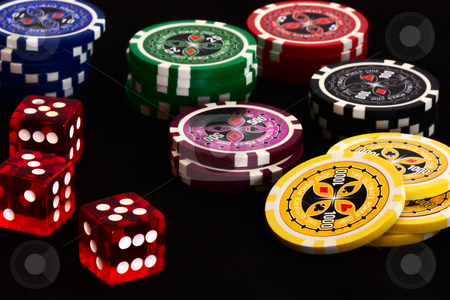 Poker stock photo, Pokerchips with dices by Andre Janssen