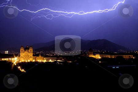 Lightning over Cuzco, Peru stock photo, Lightning over Cuzco's main square plaza de armas at night by Philip Muller