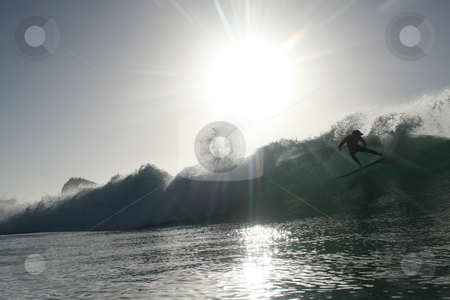 Surfer doing a cutback in a wave in Chile's famous Punta de Lobo stock photo, Backlit Watershot of a surfer doing a cutback in a wave in Chile's famous Punta de Lobos by Philip Muller