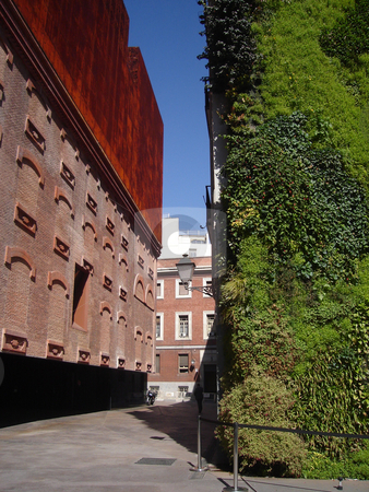 Caixa Forum Museum In Madrid With Vertical Garden stock photo, Caixa Forum Museum In Madrid With Vertical Garden in Spain by Philip Muller