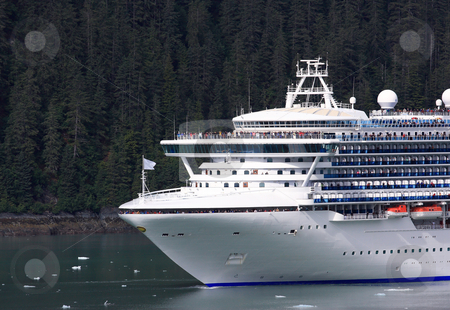 Cruise ship entering the Endicott Arm Fjord, Alaska stock photo, A view of another Grand Class Cruise Ship entering the Endicott Arm Fjord in the inner passage of Alaska with the passengers and crew on deck to greet us by Bernard Cruz