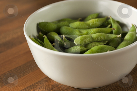 Edamame in a bowl stock photo, A bowl of steamed edamame by Patrick Noonan