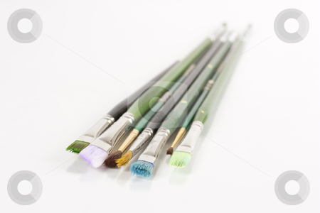 Paintbrushes stock photo, Seven assorted paintbrushes by Patrick Noonan
