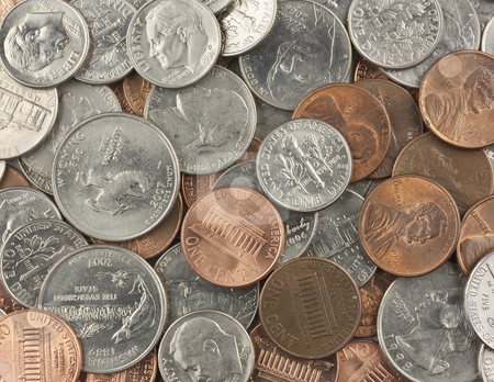 Field of Coins stock photo, A lot of various coins by Patrick Noonan