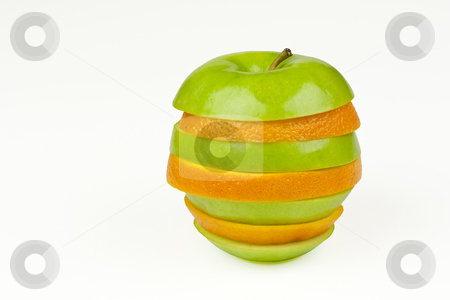Apple Orange stock photo, An apple and orange joined together with alternating slices by Patrick Noonan