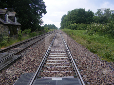 Railway lines stock photo, Railway lines disappearing off into the distance by Stuart Atton