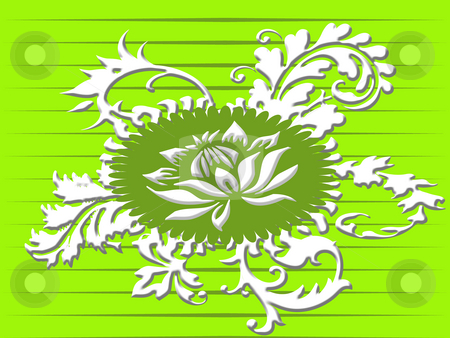 Green ornament stock photo, Retro floral ornament in green by Minka Ruskova-Stefanova