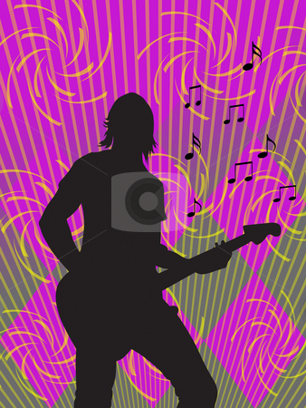 Guitarist stock photo, Silhouette of guitarist on coloured background by Minka Ruskova-Stefanova