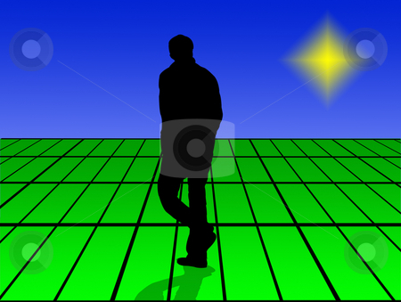 Lonely man stock photo, Lonely man walk in virtual world by Minka Ruskova-Stefanova