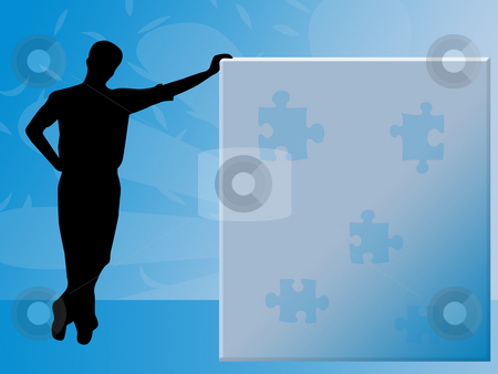 Puzzle stock photo, Blue puzzle by Minka Ruskova-Stefanova