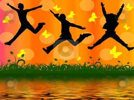 Three jumping people  stock photo, Three jumping people on orange background by Minka Ruskova-Stefanova