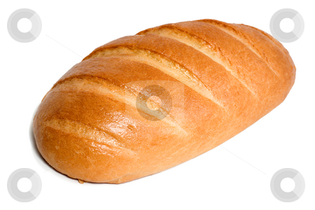 Long loaf stock photo, Long loaf with shadow close-up isolated on white background by Vladyslav Danilin