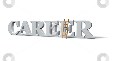 Career stock photo, The word career and a ladder - 3d illustration by J?