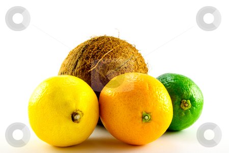 Lemon, Lime, Orange and Coconut stock photo, Single whole lemon, lime, orange and coconut with a white background by Keith Wilson