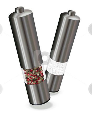 Salt & Pepper stock vector clipart, Salt & Pepper electric mills, vector illustration by Laurent Renault
