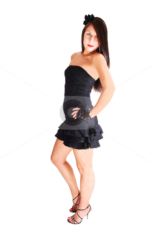 Pretty girl in black dress. stock photo, Young lovely girl in a black dress with red lips and high heels standing in the studio for white background. by Horst Petzold