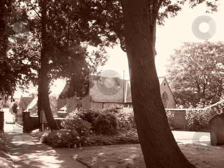 Sepia graveyard scene stock photo, Graveyard, sepia, old, alone,scary, by Lee Measures