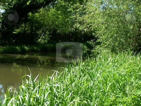 Quiet canal stock photo, Quiet canal in the british sunshine n shade by Lee Measures