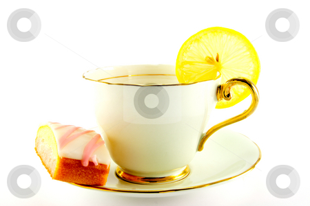 Tea and Cake with Slice of Lemon stock photo, Tea in a cup and saucer with pink slice of cake and a slice of lemon on a white background by Keith Wilson