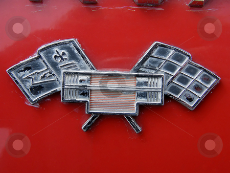 Chevrolet Emblem stock photo, Chevrolet Emblem,  The Chevrolet Flag Emblem  on the rear of a red 1964 Chevrolet Corvair Monza 900 Convertible. by Dazz Lee Photography