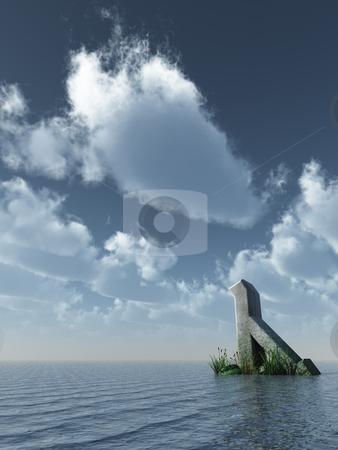 Rune stock photo, Viking rune rock at the ocean - 3d illustration by J?